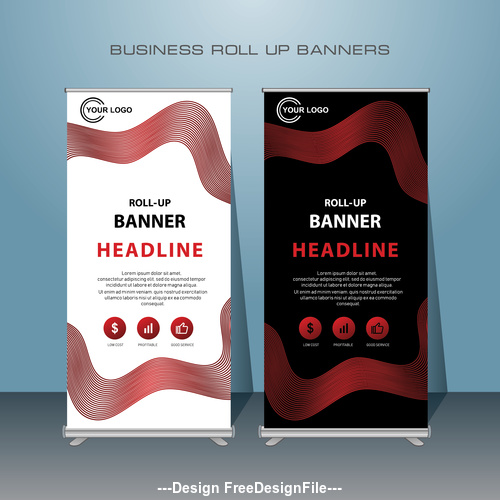 Red Black and White Stand Banner design vector template