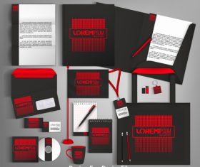 Red and black card brochure cover design vector