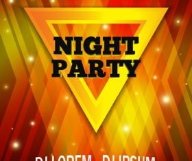 Red and yellow lights background night party flyer template vector
