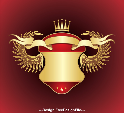 Red background gold heraldry vector