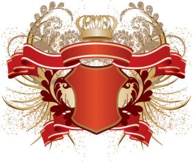Red badge and ribbon vector