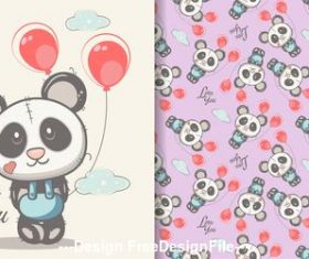 Red balloon and panda cartoon seamless pattern vector