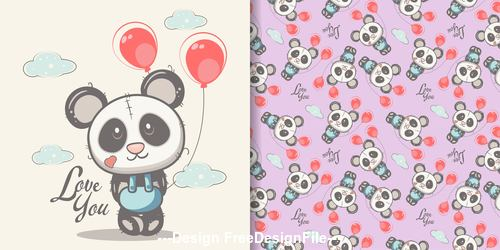 Red balloon and panda cartoon seamless pattern vector