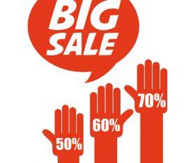Red big sale tag vector