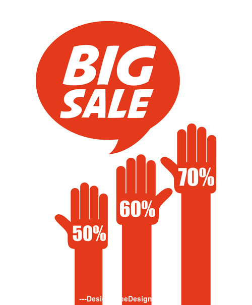 Red big sale tag vector