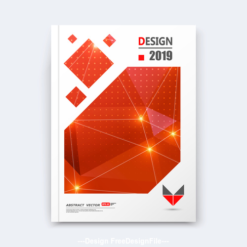 Red geometric background brochure design vector