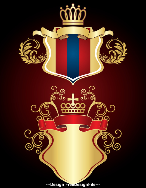 Red ribbon and gold heraldry vector