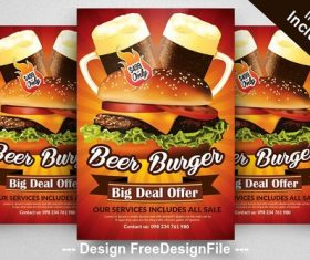 Restaurant beer and burger flyer psd template