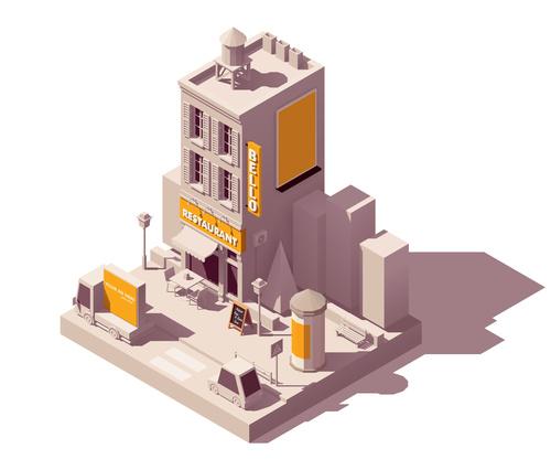 Restaurant building vector