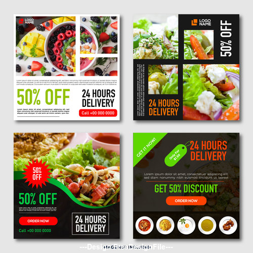 Restaurant promotion template design vector