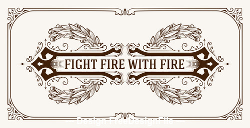 Retro fight fire tag vector