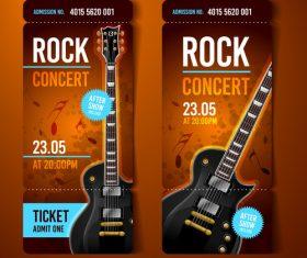 Rock concert orange ticket banner vector