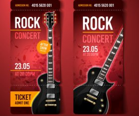 Rock concert rot ticket banner vector