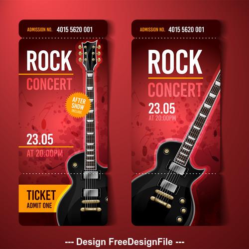Rock concert rot ticket banner vector