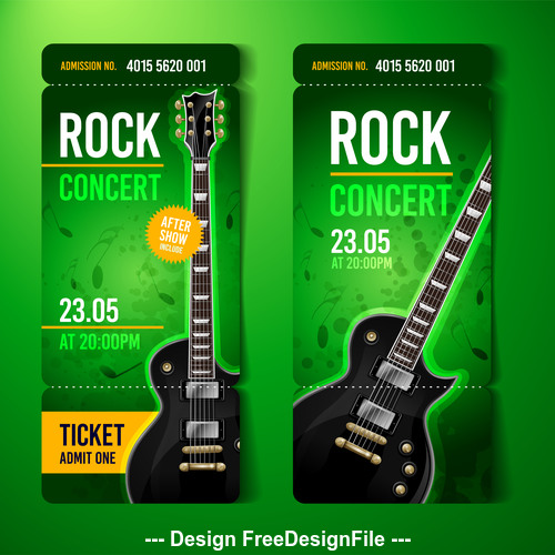 Rock concert ticket banner vector