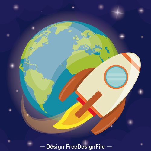 Rocket surround earth illustration background vector