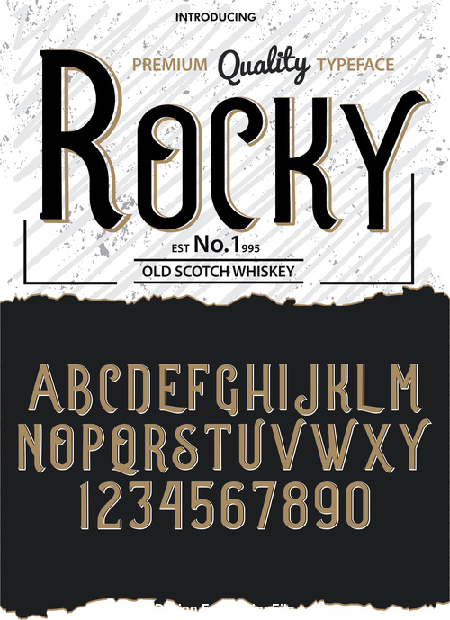 Rocky Style script font vector