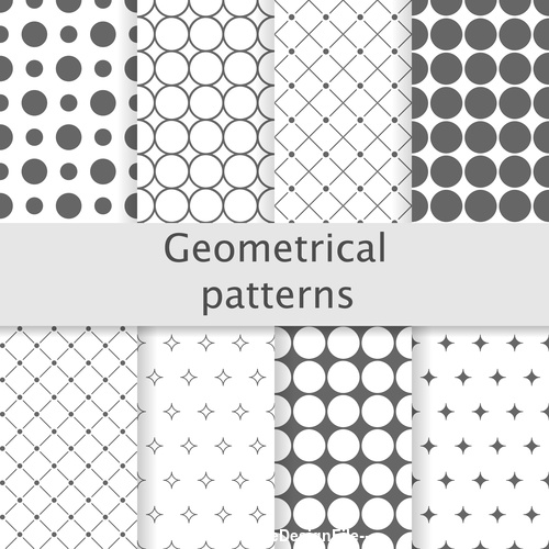 Round and diamond seamless patterns vector