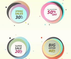Round color sale tag vector