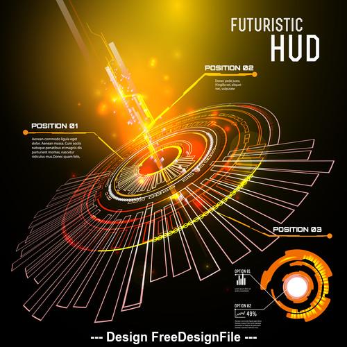 Round futuristic hud vector background