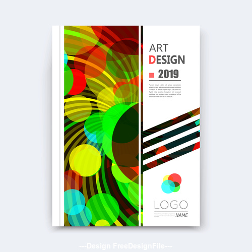 Round green and red background brochure design vector