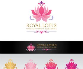 Royal lotus logo design vector
