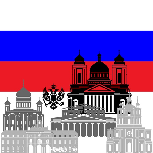 Russia collection of different architecture vector