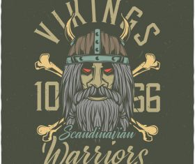 Scandinavian Viking and weapon grunge illustration