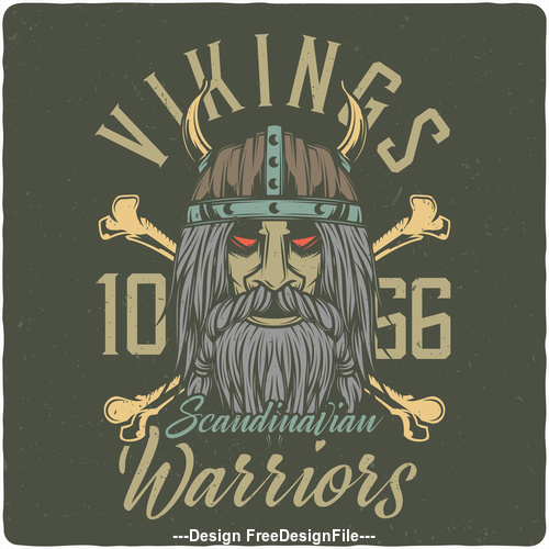 Scandinavian Viking and weapon grunge illustration