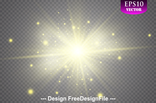 Scattering gold glow light effect vector