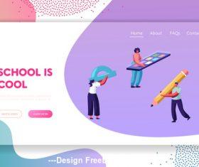 School is cool flat banner vector