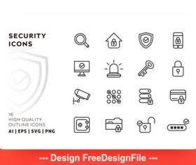 Security outline vector