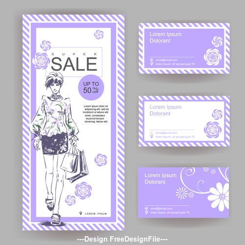 Shop big sale stylish business card vector