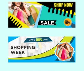 Shop now banner template design vector