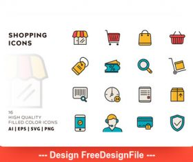 Shopping filled color vector