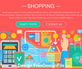 Shopping flat design concept vector