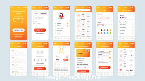 Shopping mobile app ui kit vector