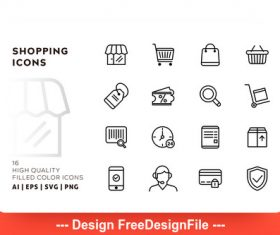 Shopping outline vector