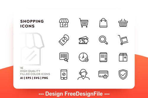 Shopping outline vector