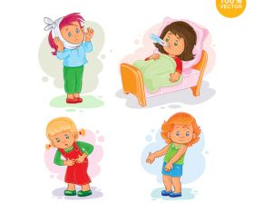 Sick child cartoon vector