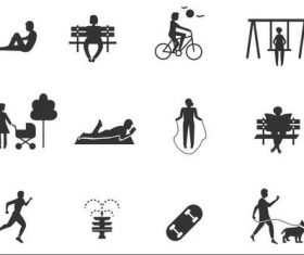 Silhouettes of people in the park vector