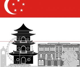 Singapore collection of different architecture vector
