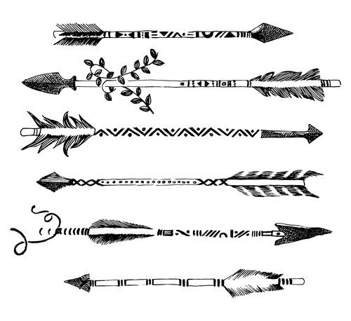 Sketch decorative arrows vector