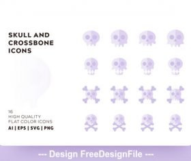 Skull and crossbone icon flat color vector