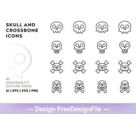 Skull and crossbone outline vector