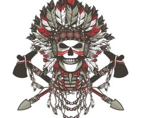 Skull leader amer indian tribe vector
