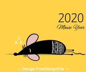 Sleeping rat new year 2020 funny cartoon vector