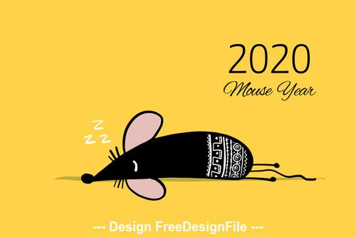 Sleeping rat new year 2020 funny cartoon vector
