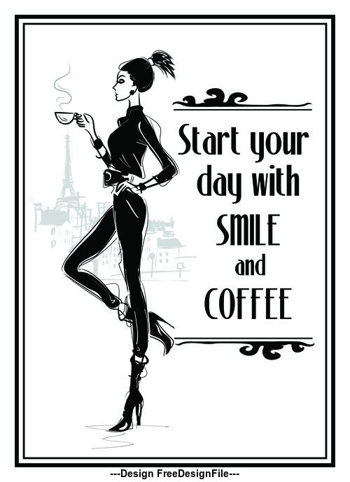 Slim woman holding coffee cartoon vector