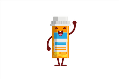 Small Medicine bottle expression cartoon vector